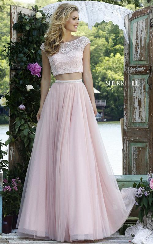 Sherri Hill 50038 blush long two piece princess dress