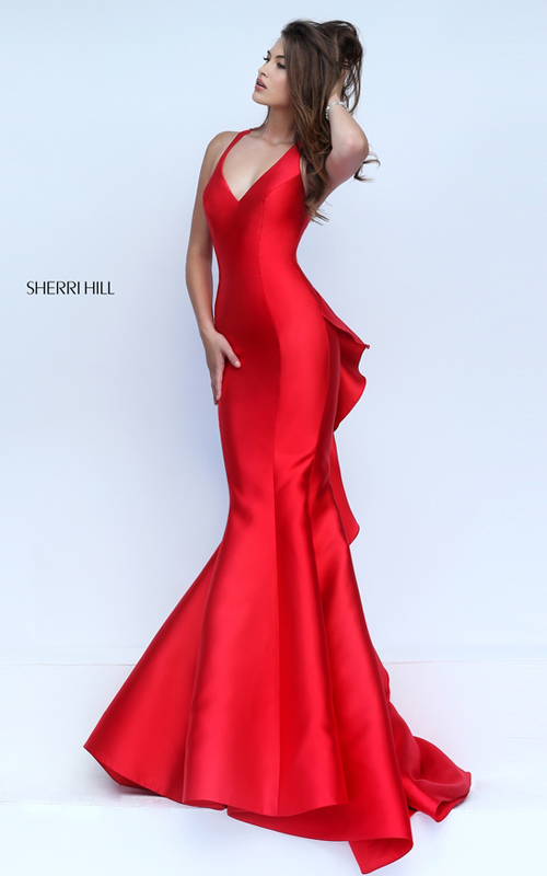 Sherri Hill 50195 red ruffled mermaid prom dress 2016