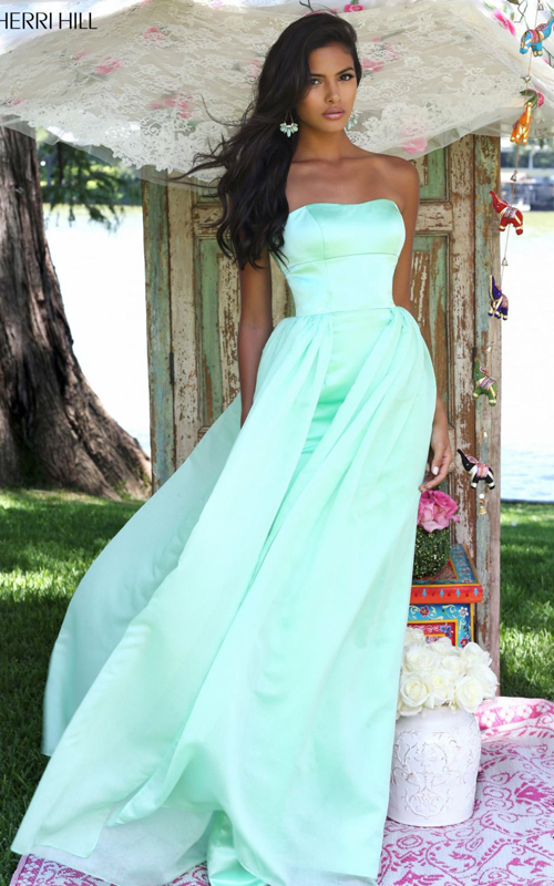 Sherri Hill 50227 strapless bridesmaid dress light green