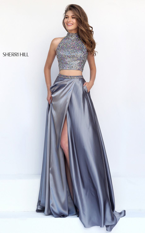 silver Sherri Hill 11330 kehole sexy prom dress with slit