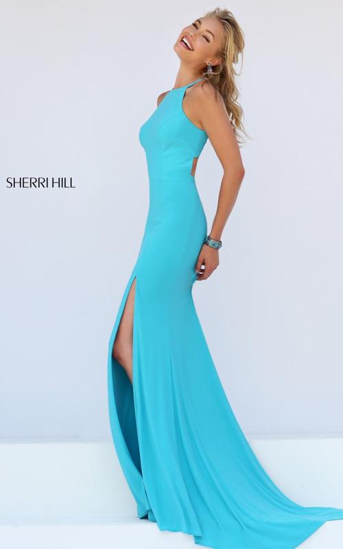 turquoise Sherri Hill 32340 cutout mermaid evening dress