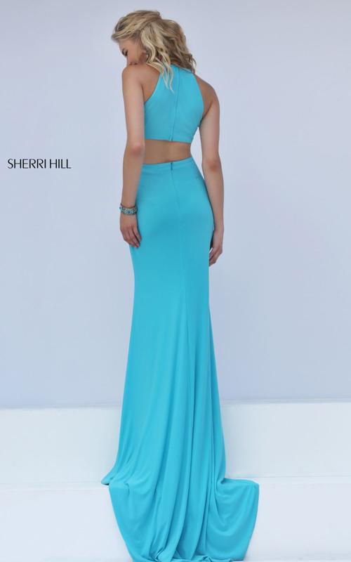 turquoise Sherri Hill 32340 cutout mermaid evening dress_1