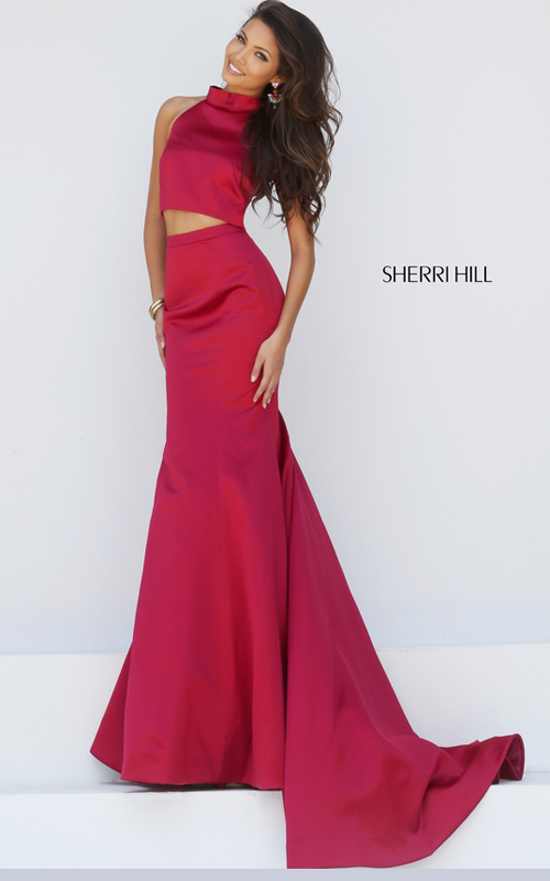two piece mermaid prom gown wine Sherri Hill 32365