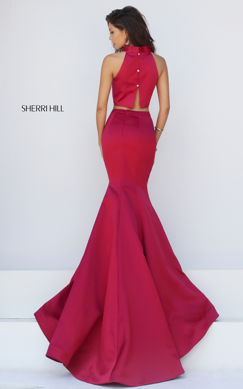 two piece mermaid prom gown wine Sherri Hill 32365_1