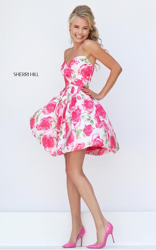 a line pink print floral prom dress 2016 Sherri Hill 50329