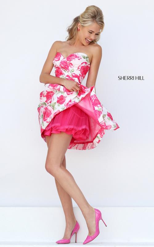 a line pink print floral prom dress 2016 Sherri Hill 50329_1