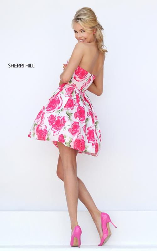 a line pink print floral prom dress 2016 Sherri Hill 50329_2