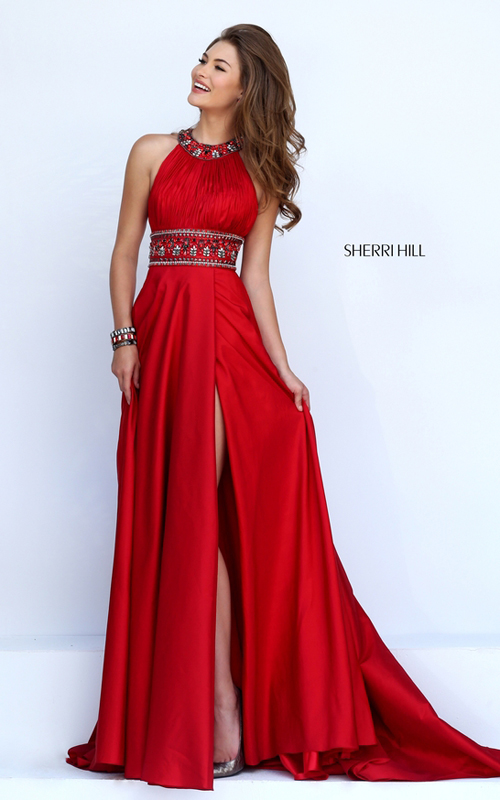 a line Sherri Hill 11318 long red pageant prom dress 2016