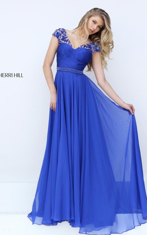 beads Sherri Hill 50211 ruched chiffon 2016 prom dress