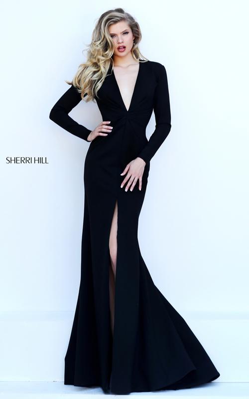 black Sherri Hill 50309 v neck sexy long sleeves dress