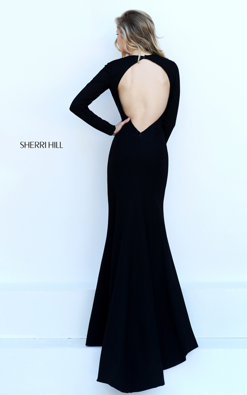 black Sherri Hill 50309 v neck sexy long sleeves dress_1
