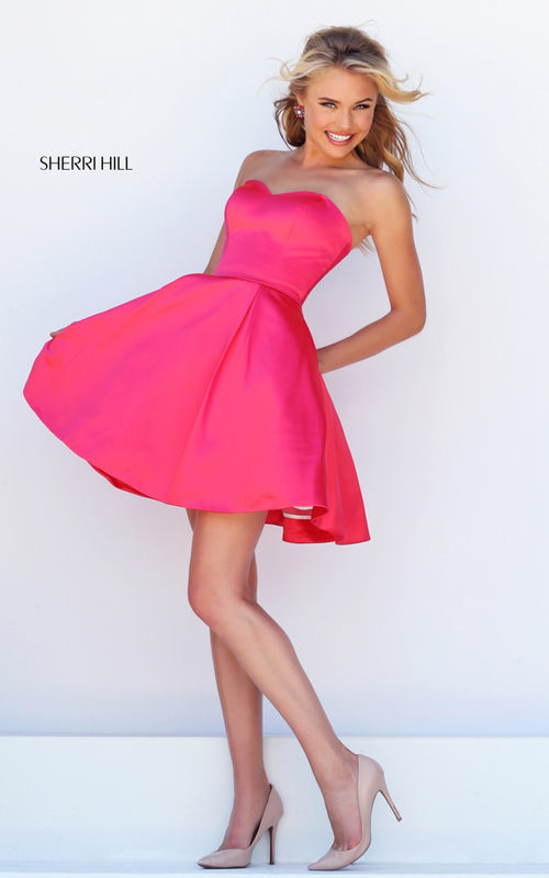 cerise Sherri Hill 50228 a line classic cocktail dress short