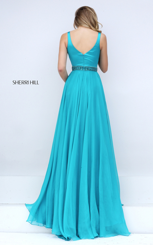 crystal Sherri Hill 50264 turquoise chiffon prom dress_1