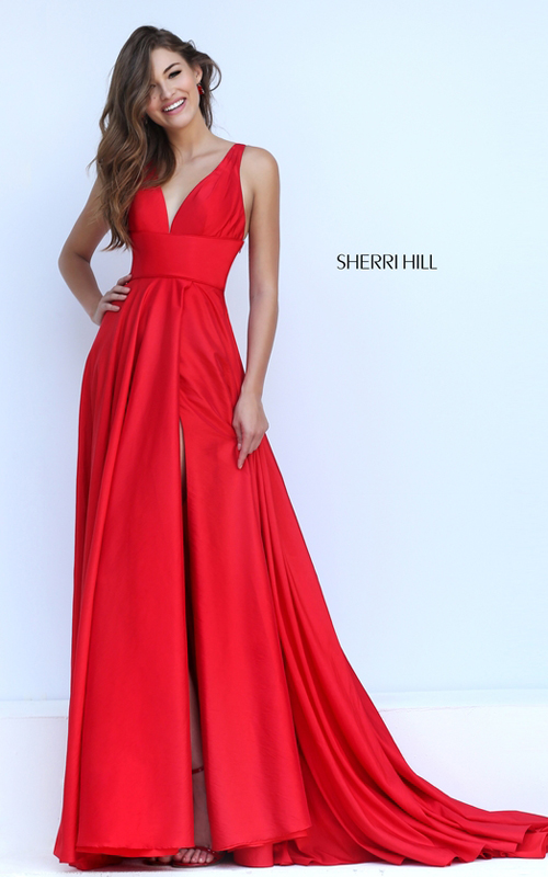 elegant Sherri Hill 50296 v neck red carpet sexy dress