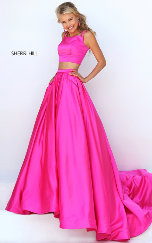fuchsia Sherri Hill 50295 two piece satin prom dress 2016