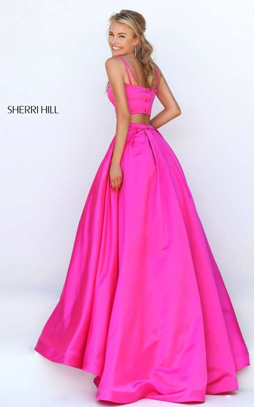 fuchsia Sherri Hill 50295 two piece satin prom dress 2016_1