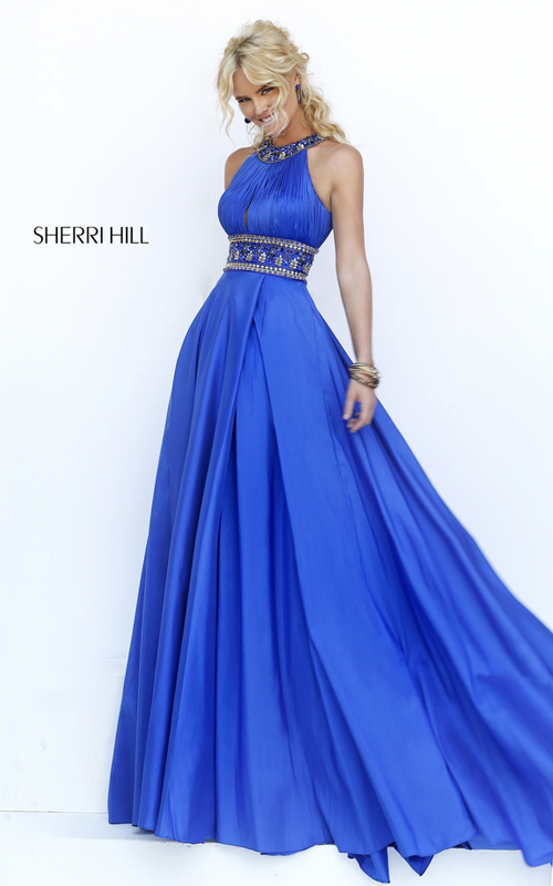 high neck Sherri Hill 11318 royal cutout prom dress 2016
