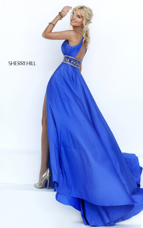 high neck Sherri Hill 11318 royal cutout prom dress 2016_2