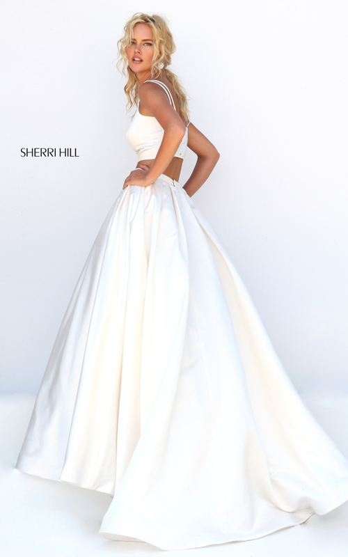ivory Sherri Hill 50295 satin two piece wedding dress