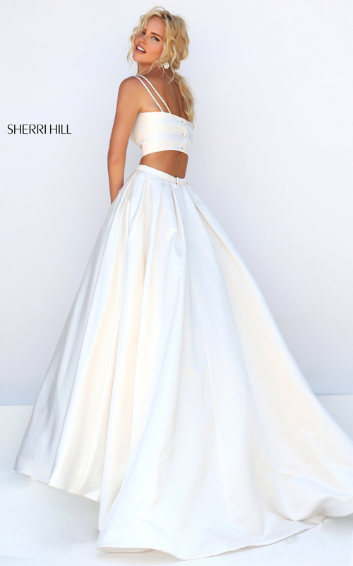 ivory Sherri Hill 50295 satin two piece wedding dress_1
