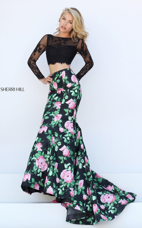 lace Sherri Hill 50400 floral two piece 2016 prom dress
