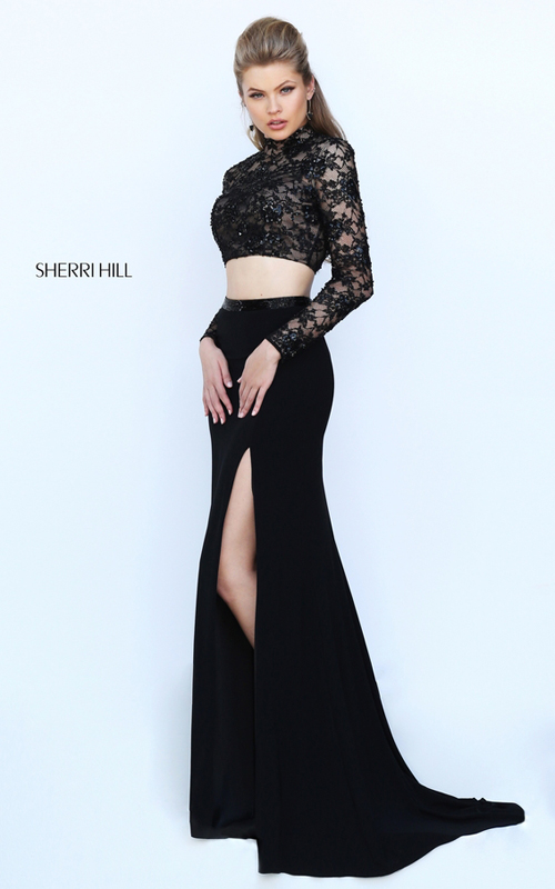 lace Sherri Hill 50455 two piece black prom dress 2016