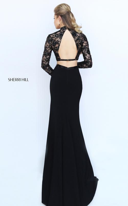 lace Sherri Hill 50455 two piece black prom dress 2016_1