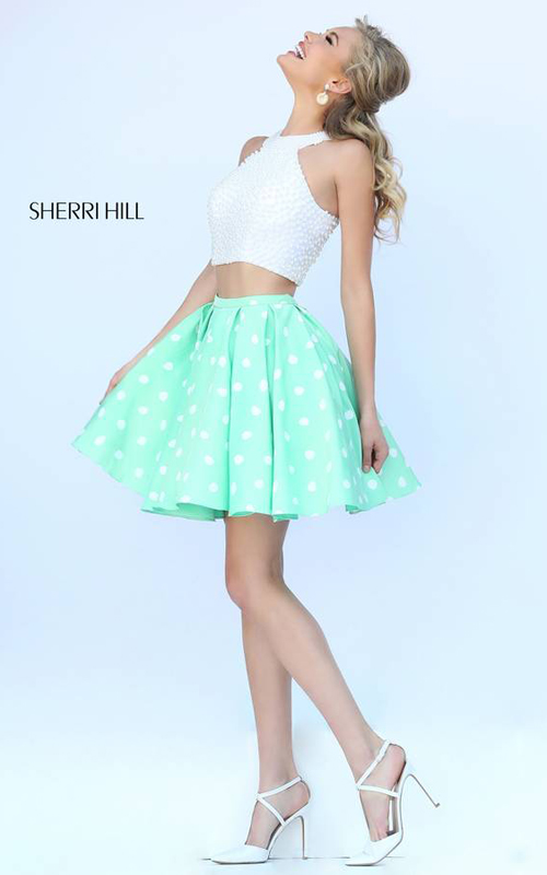mint Sherri Hill 32244 peals two piece short cocktail dress