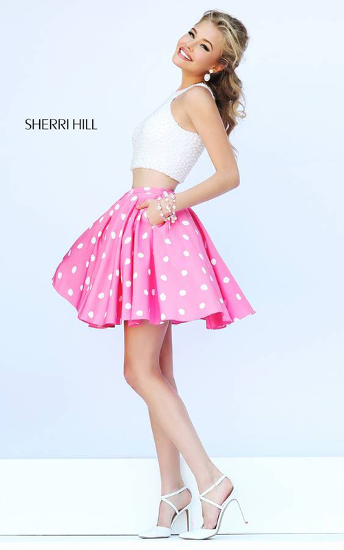 peals Sherri Hill 32244 two piece pink prom dress sexy