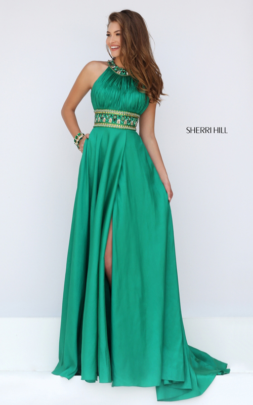 Sherri Hill 11318 emerald junior prom dress floor length