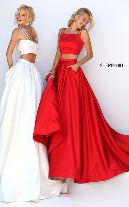 Sherri Hill 50295 double spaghetti two piece dress red