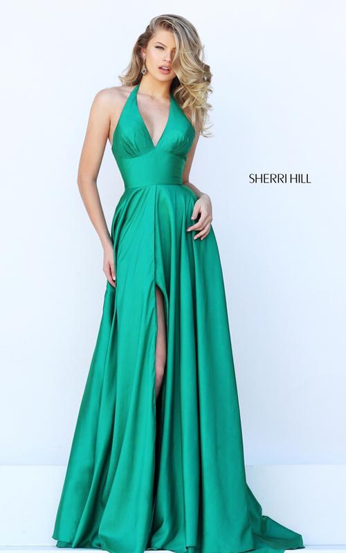 Sherri Hill 50403 halter v neck open back prom dress 2016
