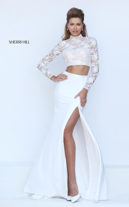 Sherri Hill 50455 black long sleeves lace prom dress sexy
