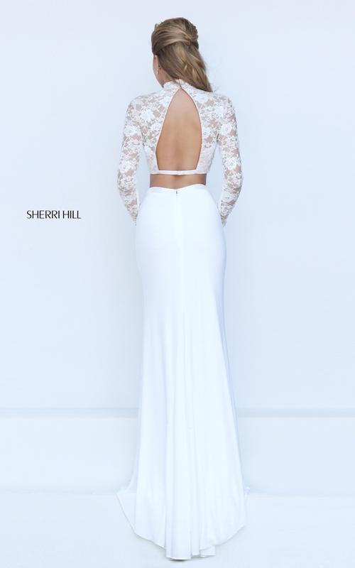 Sherri Hill 50455 black long sleeves lace prom dress sexy_1