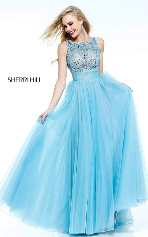 beads Sherri Hill 11022 v back tulle prom dress sexy