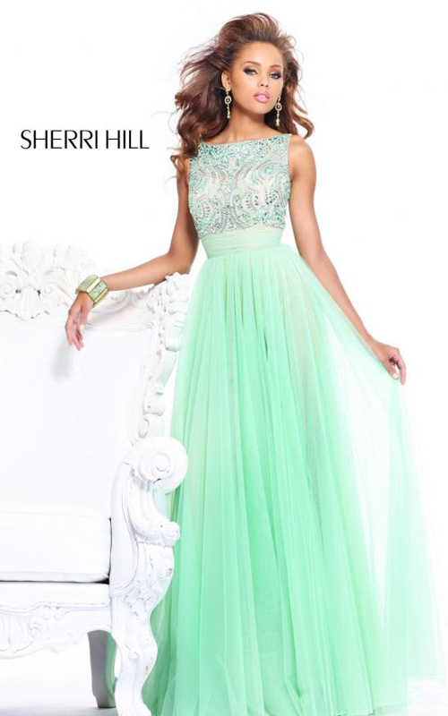 floor length Sherri Hill 11022 green prom dress beads
