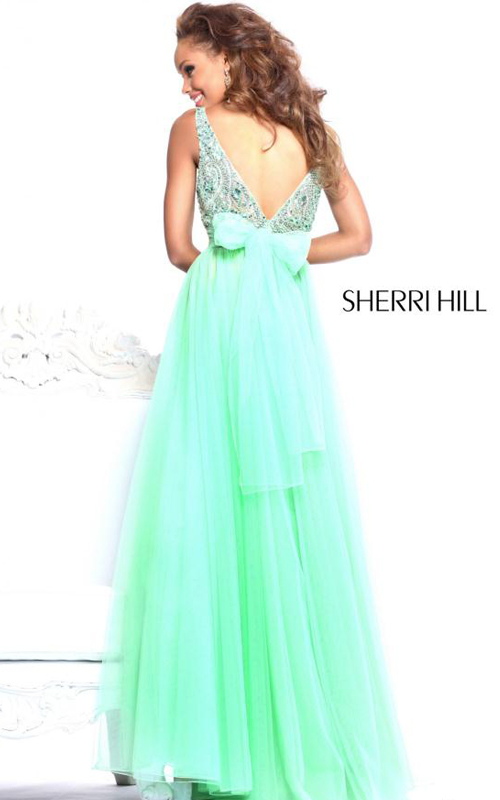 floor length Sherri Hill 11022 green prom dress beads_1