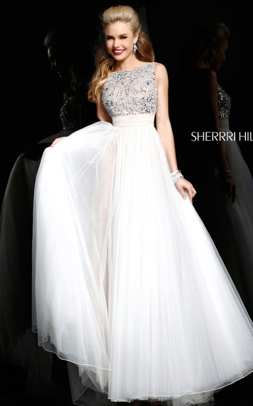 hot sale Sherri Hill beads tullw white prom dress 11022