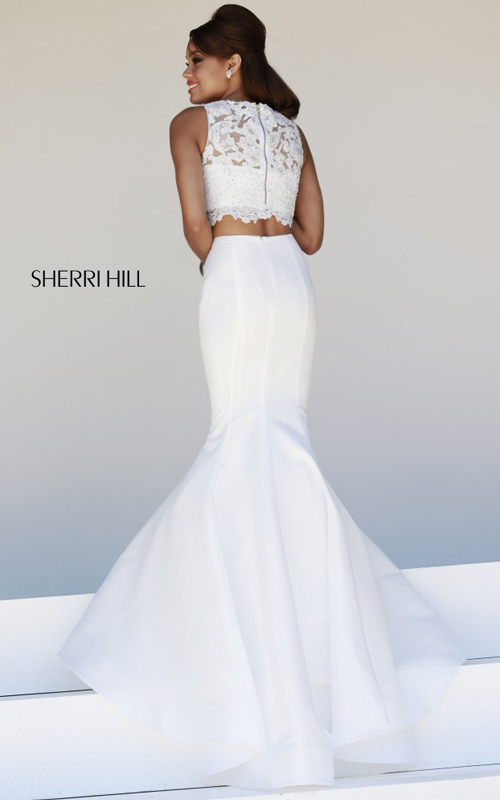 ivory Sherri Hill 21372 lace satin two piece sexy dress_1