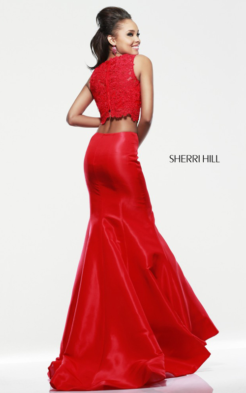 mermaid Sherri Hill 21372 red two piece lace prom dress_1