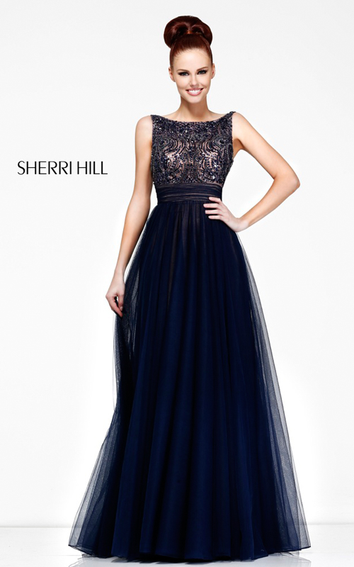 navy Sherri Hill 11022 tulle full length beads prom gown