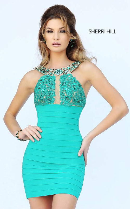 Scoop Neck Sherri Hill 32240 Lace Party Dress Emerald