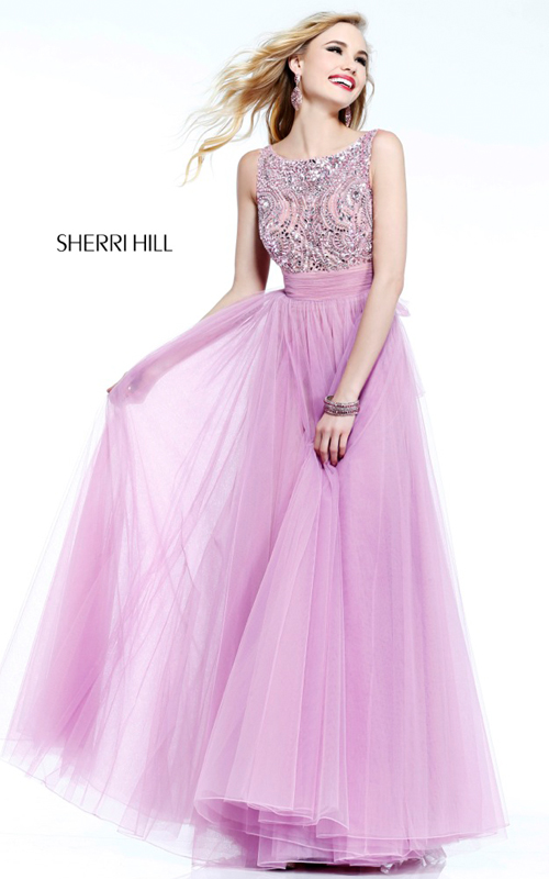 Sherri Hill 11022 blush beads tulle sexy prom gown cheap