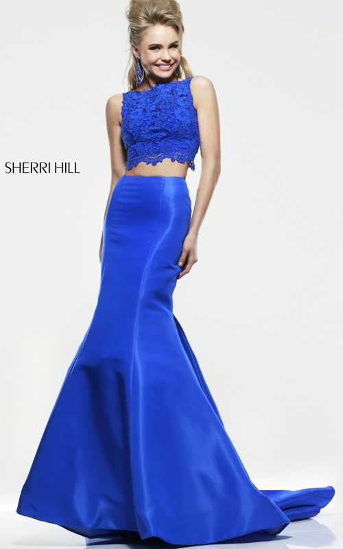 Sherri Hill 21372 lace satin mermaid prom dress royal