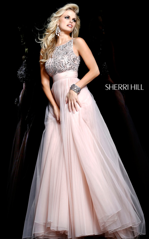 tulle Sherri Hill 11022 beads v back nude evening gown