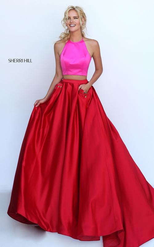 fuchsia red Sherri Hill 50219 two piece satin formal dress