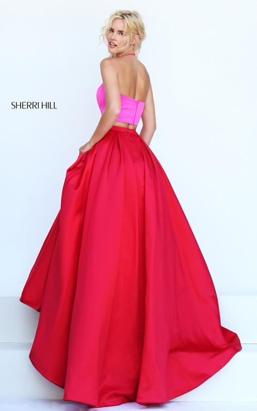 fuchsia red Sherri Hill 50219 two piece satin formal dress_1