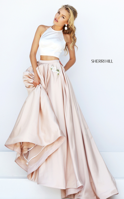 ivory nude Sherri Hill 50219 satin halter eveing gown 2016