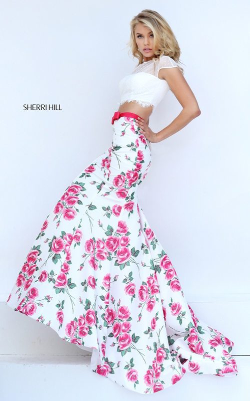 mermaid pink floral two piece dress 2016 Sherri Hill 50421_1