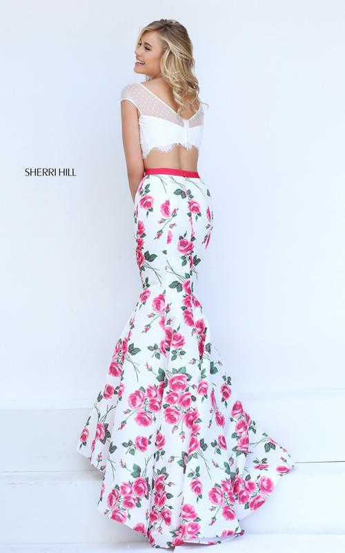 mermaid pink floral two piece dress 2016 Sherri Hill 50421_2